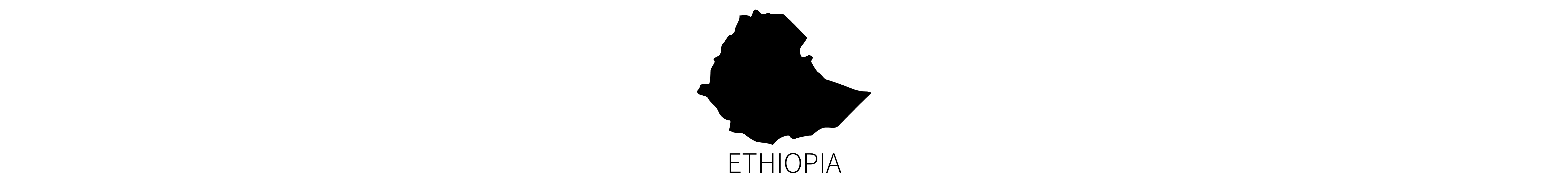 This image contains the black map silhouettes of the country of Ethiopia, with identifying all-caps text below.