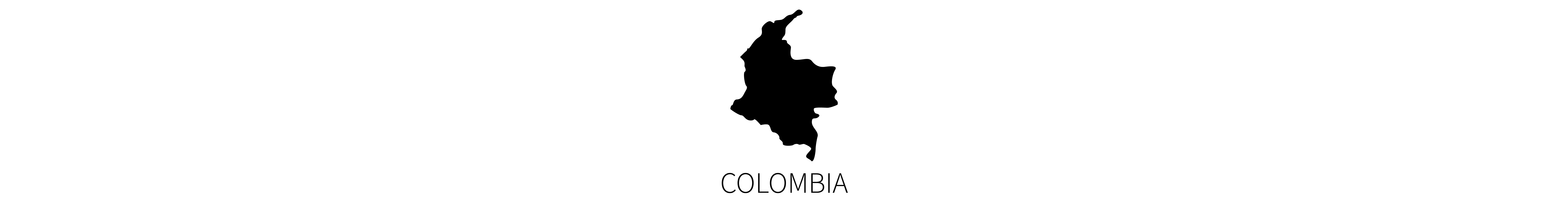 This image contains the black map silhouette of the country of Colombia with identifying all-caps text below.