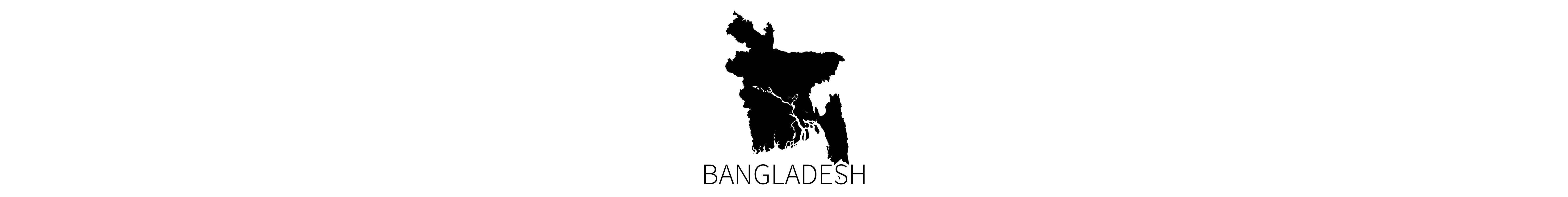 This image contains the black map silhouette of the country of Bangladesh with identifying all-caps text below.