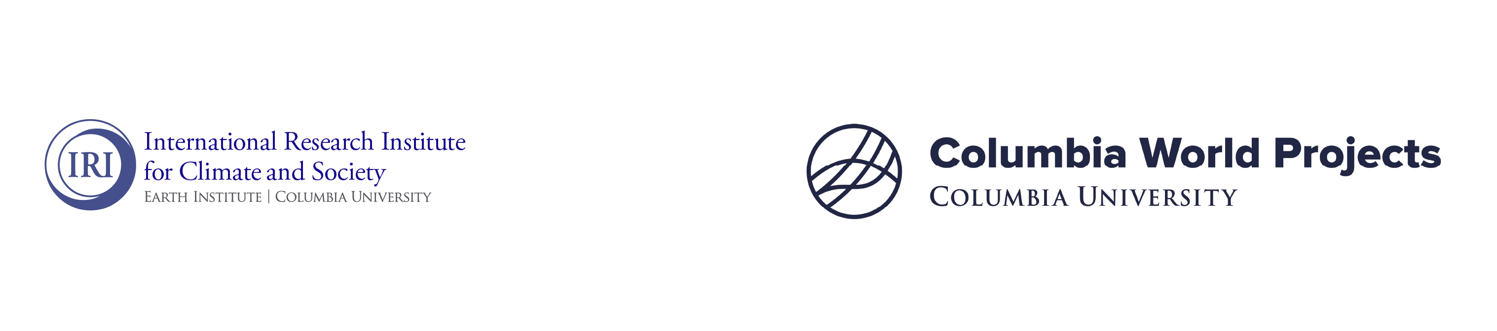 """The logo for the International Research Institute for Climate and Society, Earth Institute, Columbia Univeristy is on the left. The logo has """"IRI"""" inside blue and white intersecting circles with the name of the institution in blue text to the right of the circles. The logo on the right is the logo for Columbia World Projects. It is in black and has a circle on the left side with a circle with wavy lines crossing it. The text to the right of the circle reads """"Columbia World Projects, Columbia University."""""""