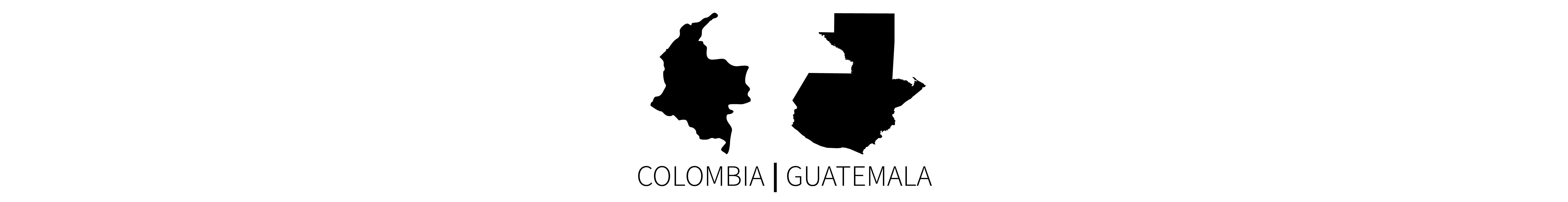 This image contains the two black map silhouettes of the countries of Colombia (left) and Guatemala (right), with identifying all-caps text below each country.