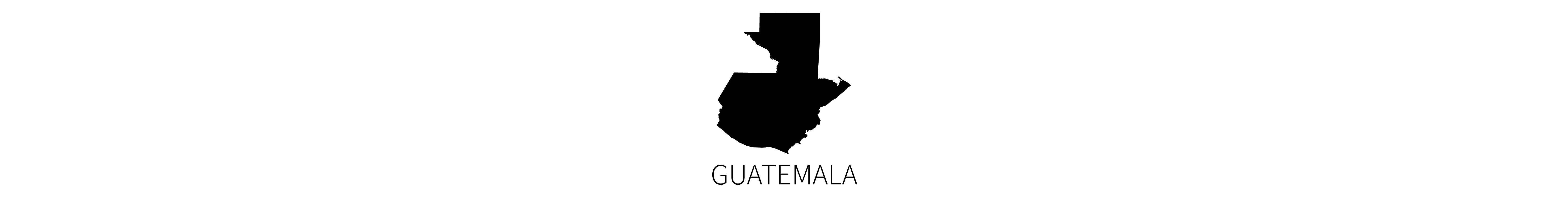 This image contains the black map silhouette of the country of Guatemala with identifying all-caps text below.